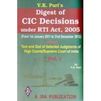 Digest of CIC Decisions under  RTI Act (Vol.5 - JAN-11- DEC-12